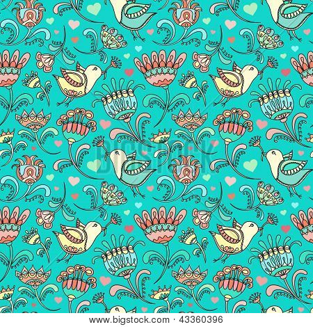 Beautiful Bird Doodle Floral Spring Love Vector Seamless Pattern Background Wallpaper For Textile An