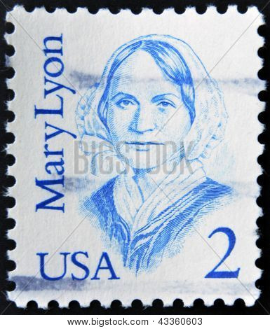 A stamp printed in the USA shows Mary Mason Lyon