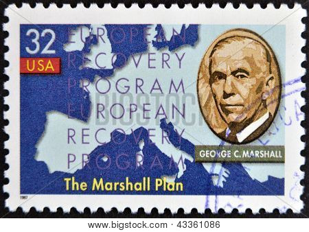 stamp printed in USA show shows George Marshall