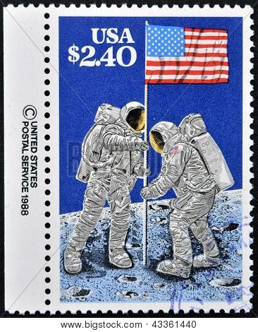 Astronauts planting Flag on Moon 20th Anniversary of First Manned Moon Landing