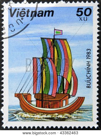 A stamp printed in Vietnam shows Sampan