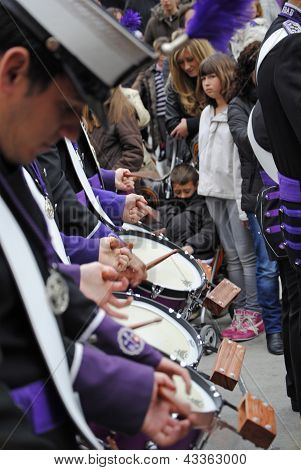 Music band the penitents of the brotherhood in typical procession Holy Week in April 6 2012 Granada