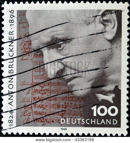 a stamp printed in Germany shows Anton Bruckner