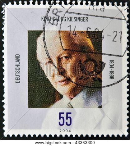 A stamp printed in Germany shows Kurt Georg Kiesinger