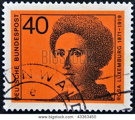 A stamp printed in the German Federal Republic shows Rosa Luxemburg