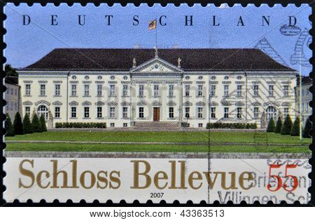 A stamp printed in Germany shows Bellevue Palace