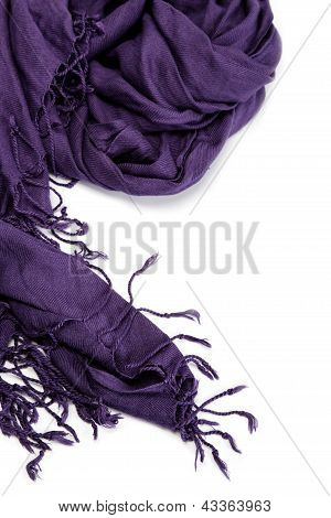 Purple Scarf With Tassels, Isolated On White Background.