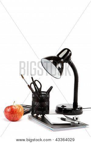 Student And Office Supplies On White Background. Back To School.