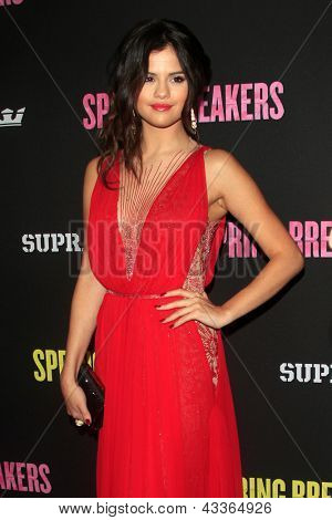 "LOS ANGELES - MAR 14:  Selena Gomez arrives at the 'Spring Breakers"" Premiere at the Arclight, Hollywood on March 14, 2013 in Los Angeles, CA"