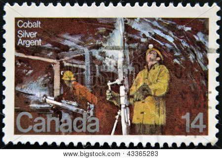 A stamp printed in Canada shows Silver Mine Cobalt Lake