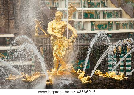 PETERHOF, RUSSIA - JULY 1: Grand Cascade Fountains at Peterhof, Russia, May 1, 2012 in Peterhof, Russia. The name was changed to Petrodvorets in 1944, the original name was restored in 1997.