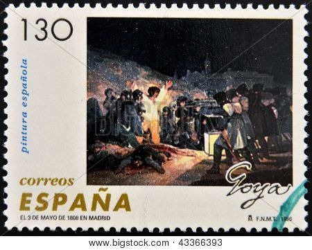 stamp printed in Spain shows