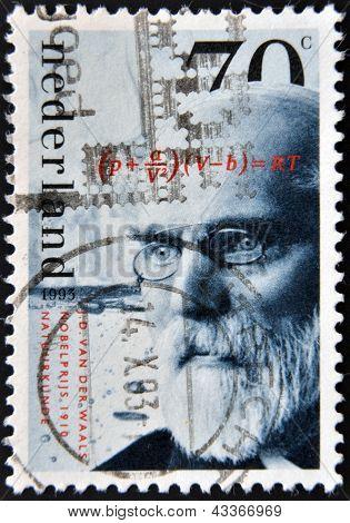 carimbo imprimido na Holanda mostra J. D. van der Waals