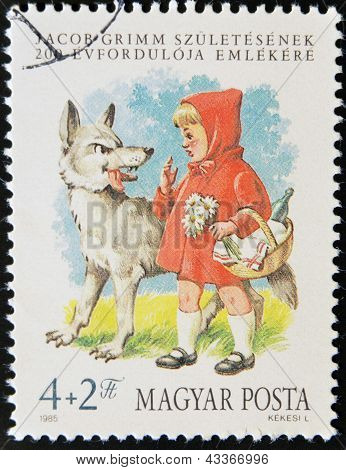 stamp printed in Hungary shows Little Red Riding Hood and the Wolf