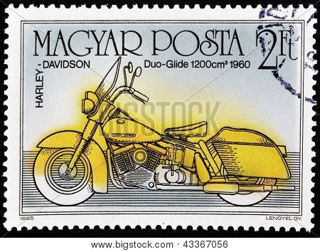 HUNGARY - CIRCA 1985: A stamp printed in Hungary shows Harley Davidson, Duo-Glide 1200 cm 1960