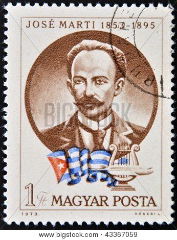 sello impreso en Hungría muestra Jose Marti y bandera cubana