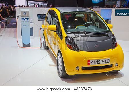 GENEVA - MARCH 8: The Mitsubishi IMIEV electric car customized by Rindpeed on display at the 81st International Motor Show Palexpo-Geneva on March 8; 2011 in Geneva, Switzerland.