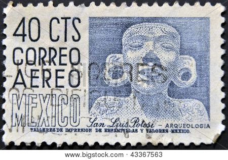 stamp printed in Mexico dedicated to Archaeology at San Luis Potosi