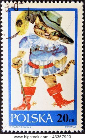 stamp printed in Poland shows drawing from tale 'Puss in Boots'