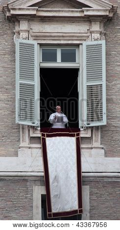 Pope Francis I During The First Angelus