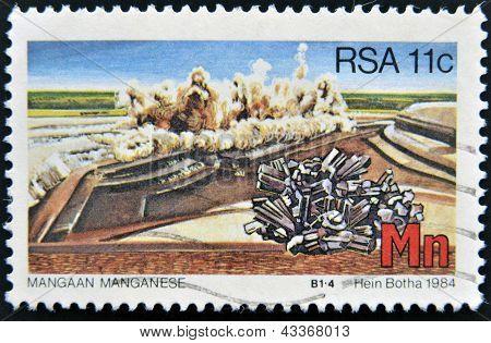 stamp printed in RSA shows manganese