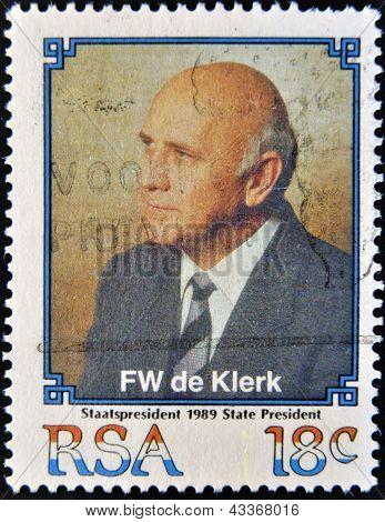 stamp printed in South Africa shows Frederik Willem de Klerk