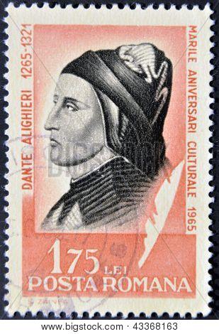 stamp printed in Romania show Dante Alighieri