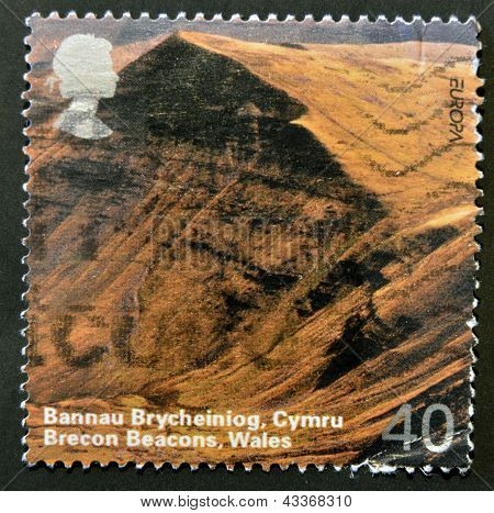 A stamp printed in Great Britain shows brecon beacons wales circa 2004