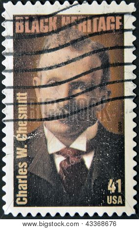 A stamp printed in USA shows Charles W. Chesnutt black heritage