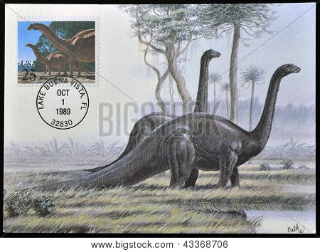 postcard printed in USA shows Brontosaurus