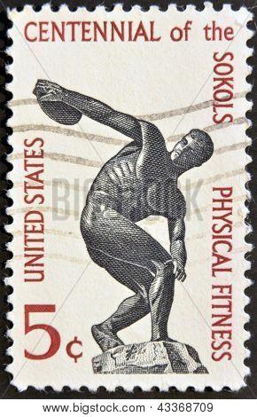 Discus thrower centenary of founding Sokol athletic organization in America