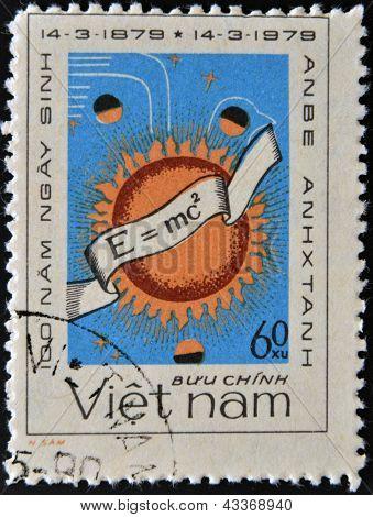 stamp printed in Vietnam shows Albert Einstein's famous formula