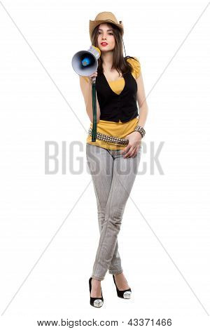 Attractive Brunette With A Loudspeaker