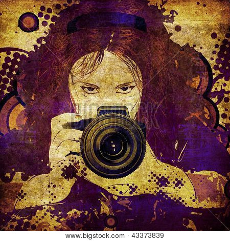 Photographer Girl Grunge Illustration