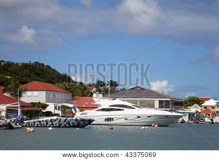 Luxury boats in Gustavia Harbor at St Barths, French West Indies