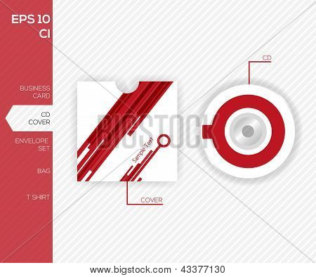 Corporate Identity Design For Business -  Modern  Red Abstract Cd Template Design - Vector Illustrat