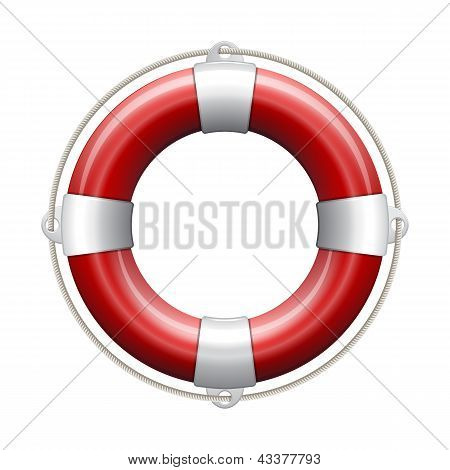 Red life buoy.