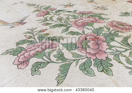 Artwork on floor of Khao Takiab Temple