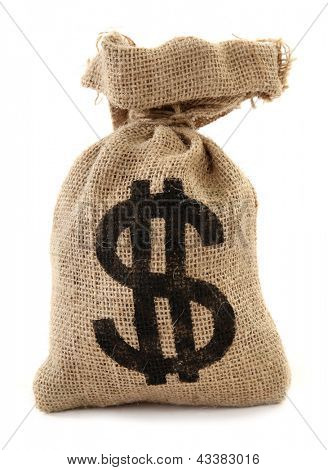 Burlap sack with dollar sign money bag