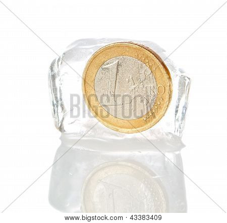 Financial Crisis In Europe, Inflation, The Euro. Euro Frozen On A White Background.