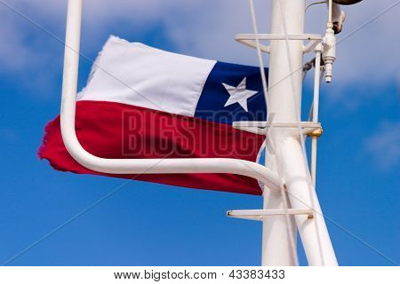 Chilean Flag On A Ferry Boat In Strait Of Magellan