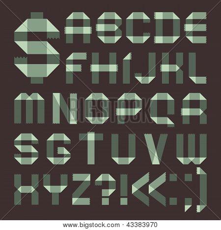 Font from spindrift scotch tape -  Roman alphabet