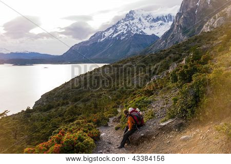Torres Del Paine In Chilean National Park Los Cuernos Trekking Woman Resting