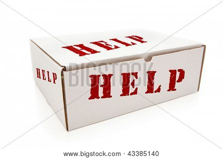 White Box with the Word Help on the Sides Isolated on a White Background.