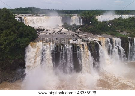 The Iguacu Falls Seen From The Brazilian Side