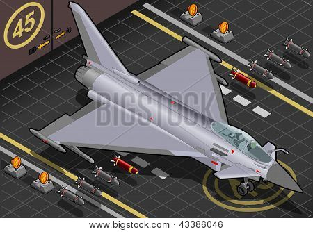 Isometric Eurofighter Landed In Front View