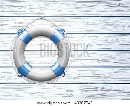 Life Buoy on  a Wooden Paneled Wall