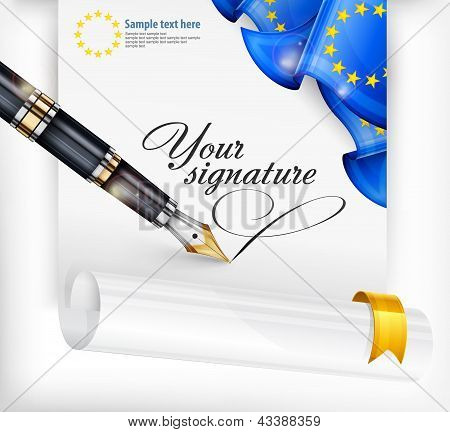 Euro Blank And Pen