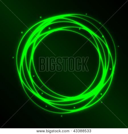 Abstract Background With Green Plasma Circle Effect