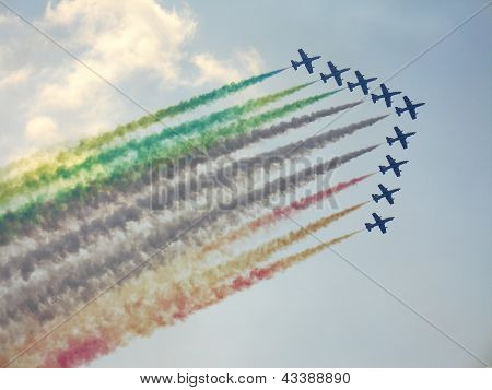 Frecce Tricolori On Aermacchi Mb-339 Show